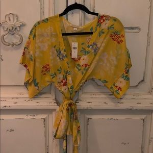 Anthropology Floral Wrap Top